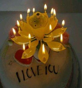 Свечки Музыкальный лотос с днём рождения