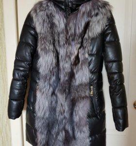 Зимняя куртка с мехом чернобурки (эко кожа)