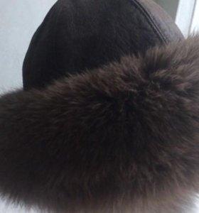 Теплая шапка натуральный писец, натуральная кожа
