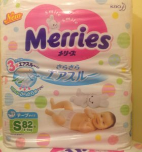 Подгузники Merries S 4-8 кг 82шт памперсы мерис мэ