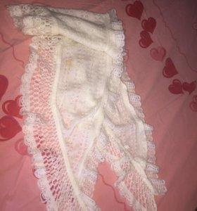 Шерстяной белый шарф платок