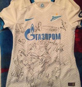 Футболка зенит с автографами