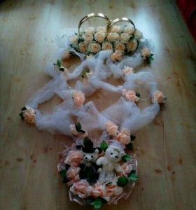 Свадебные кольца на машину, цветы, наклейки