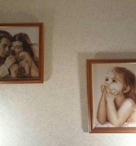 Картина вышивка крестиком 35х40см в багете
