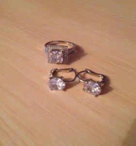 Набор серьги и кольцо