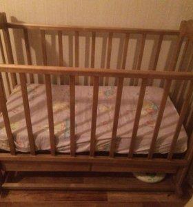 Детская кроватка+матрасик ортопедический с кокосом