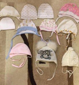 Новые чепчики, шапки для детей 1-6 мес