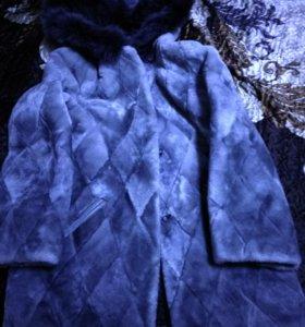 Шубка мутон (голубой)