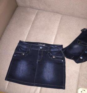 Юбка джинсовая , отстегивается верх)) размер28 😘
