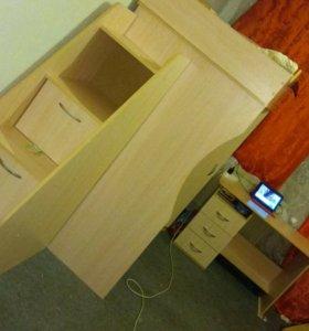Кровать чердак+матрас+шкаф