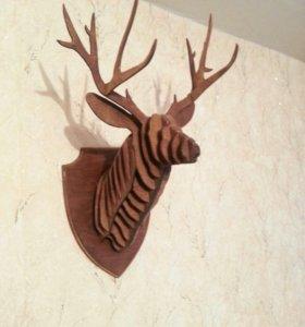Трофей из фанеры.голова оленя 3D