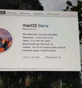 """Apple iMac 21,5"""" 4K Lete 2015 i5/3.1GHz/8gb/1tb"""