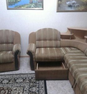 угловой диван с креслом, баром и подсветкой