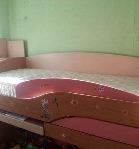 детская модульная кровать с матрасом
