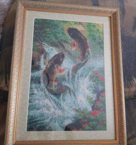"""Картина ручной работы """"Прыгающие карпы"""""""