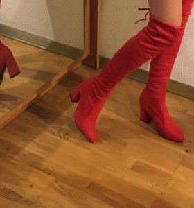 Ботфорты красные новые
