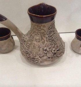 Кофейный набор из глины