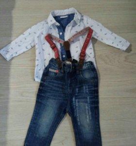 Джинсы и рубашка для мальчика 74-80