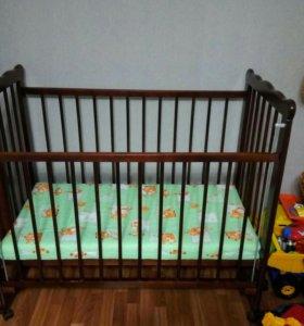 Кроватка детская, матрас, бортики, балдахин