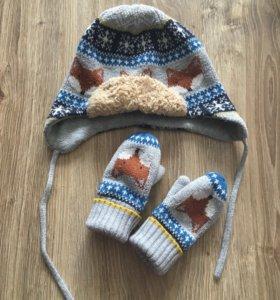 H&M шапка+варежки детские