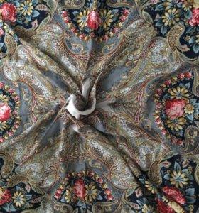Новый Павловопосадский платок шерсть