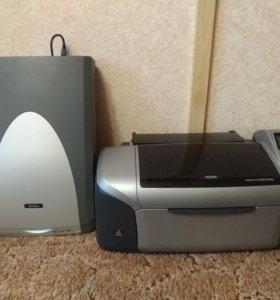 Цветной принтер Epson и сканер Epson