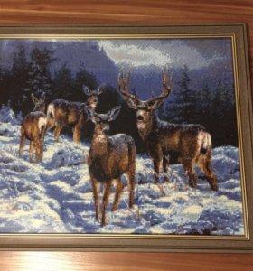 Картина олени на снегу