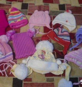 Зимние шапочки , носочки , варежки для деток