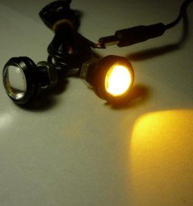 ЛЭД огни 23мм, желтый свет, шпилька 10мм, 17шт