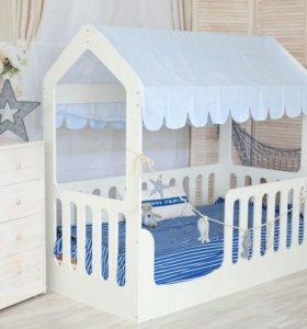 Новая детская кровать домик с матрасом
