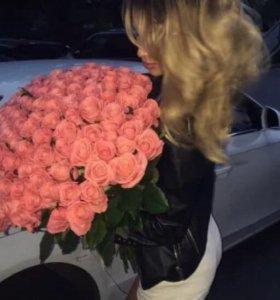 Оранжевые розы 101 роза спб