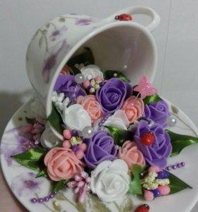 Чайная пара с цветами