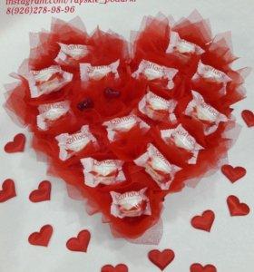 Сердце с конфетами валентинка