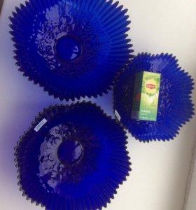 Три синих салатника СНЕЖИНКА
