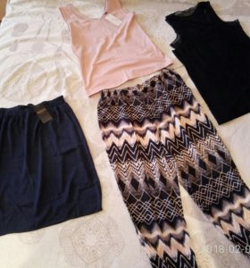 Летние женские вещи (юбка, брюки, майка) 48-50