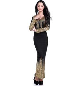Платье макси. Черно-золотое.
