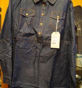 Джинсовая туника-рубашка для беременных