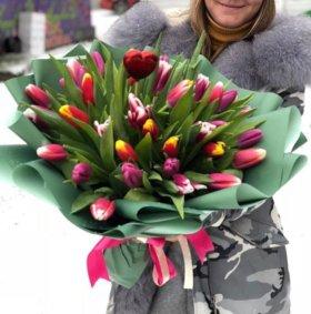 Тюльпаны цветы + имбирный пряник