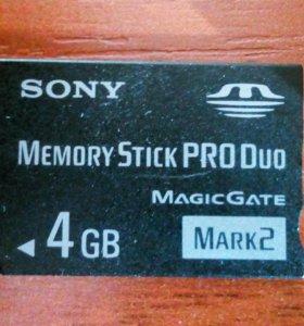 Карта памяти Sony stick pro duo 4GB