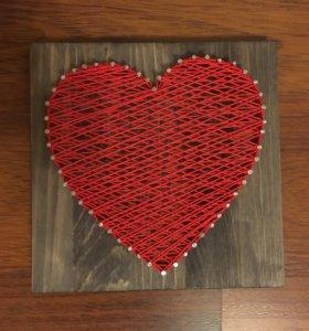 Сердце стринг арт 20х20