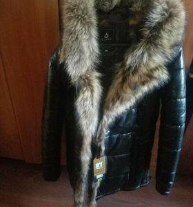Куртка кожа с волчьим мехом