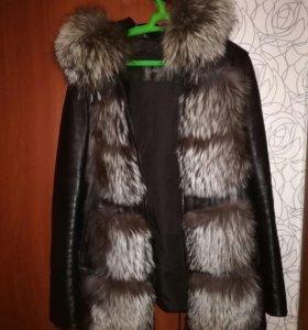 Кожанная куртка зима-весна-осень