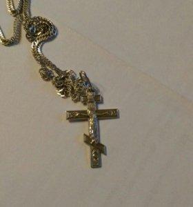 Цепь серебрянная + крестик