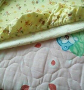 Матрас, одеяло, 2 копл.постельного белья