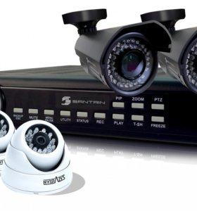 HD Комплект видеонаблюдения улица+дом 4 камеры