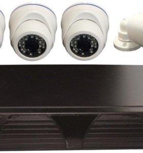 HD Комплект видеонаблюдения 3 купольных и 1уличная
