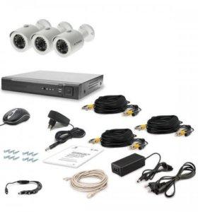 HD Комплект видеонаблюдения 3 камеры для улицы