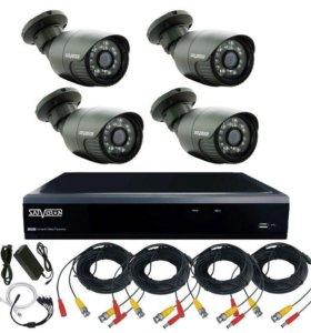 HD Комплект видеонаблюдения для дома на 4 камеры