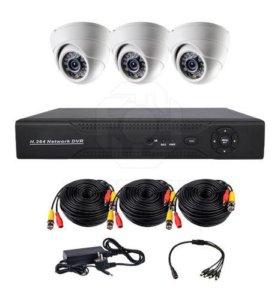 HD Комплект видеонаблюдения 3 купольных камеры