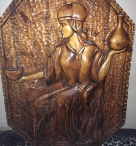 Картина резьба по дереву.размер: 1 метр х 0,78 мер